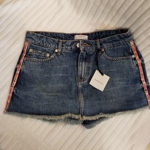 Zara Embellished Denium Shorts Skort NEW